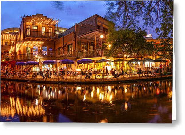 Del Rio Texas Greeting Cards - Panorama of San Antonio Riverwalk at Dusk - Texas Greeting Card by Silvio Ligutti