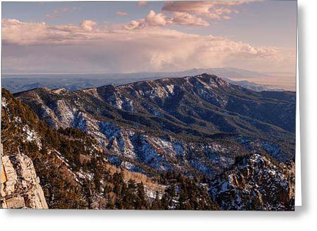 Sandias Greeting Cards - Panorama of Sandia and Manzano Mountains from the Tramway Terminal - Albuquerque New Mexico Greeting Card by Silvio Ligutti