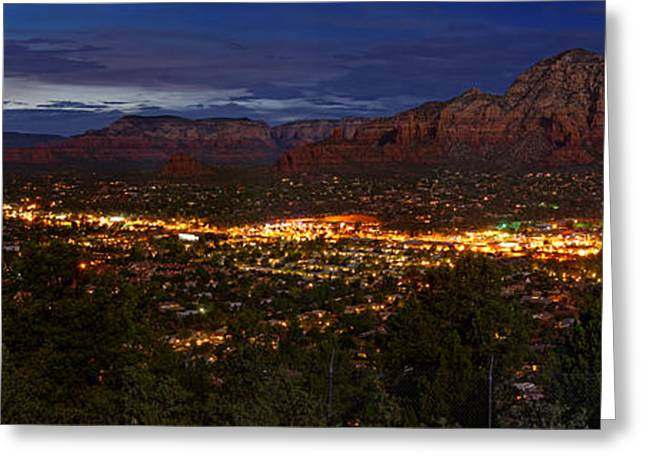 Cathedral Rock Greeting Cards - Panorama of Sedona Red Rocks Arizona Greeting Card by Silvio Ligutti