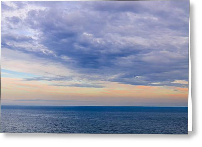 Ocean Panorama Greeting Cards - Panorama of sky over water Greeting Card by Elena Elisseeva