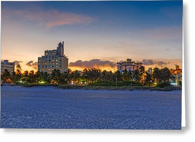 Ocean Art. Beach Decor Greeting Cards - Panorama of South Beach and Ocean Drive Hotels at Sunset - Miami Beach Florida Greeting Card by Silvio Ligutti