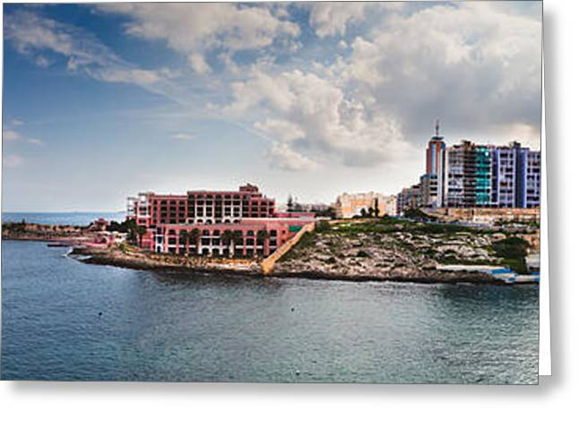 Maltese Greeting Cards - Panorama of St Julians Malta Greeting Card by Frank Bach