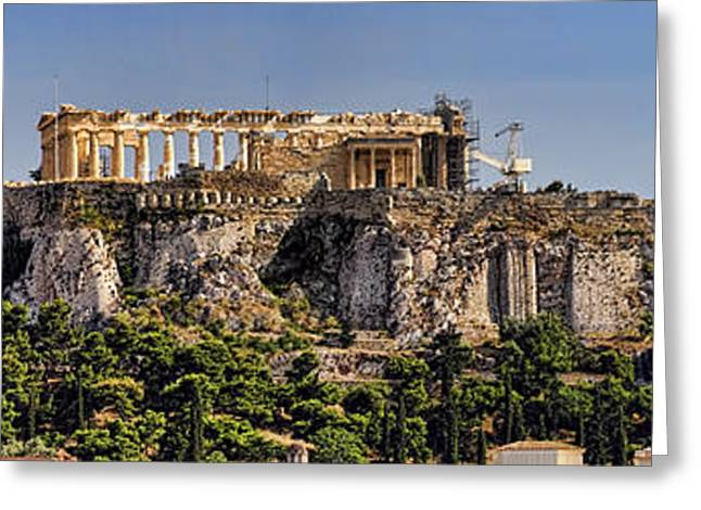 Greek Ruins Greeting Cards - Panorama of the Acropolis in Athens Greeting Card by David Smith