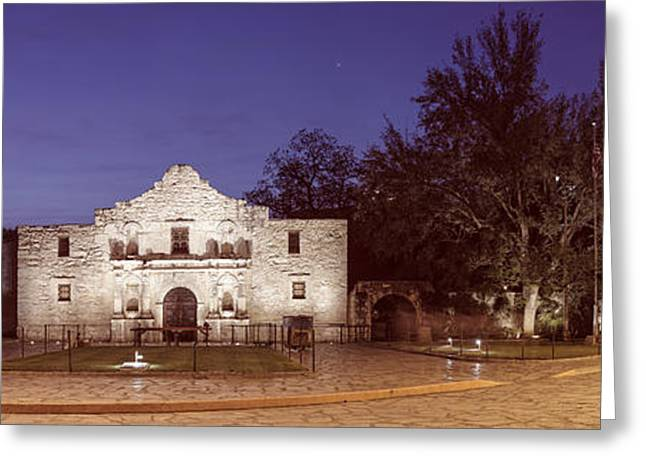 Mexican Fiesta Greeting Cards - Panorama of The Alamo at Dawn - San Antonio Texas Greeting Card by Silvio Ligutti