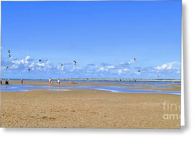 Kiteboarding Greeting Cards - Panorama of the beach in Brouwersdam Greeting Card by Maja Sokolowska
