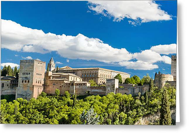 Medieval Temple Greeting Cards - Panorama of the famous Alhambra palace in Granada Andalusia Spain Greeting Card by David Herraez