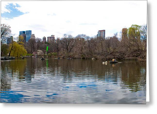 Panorama Of The Lake Of Central Park New York City Greeting Card by Thomas Marchessault