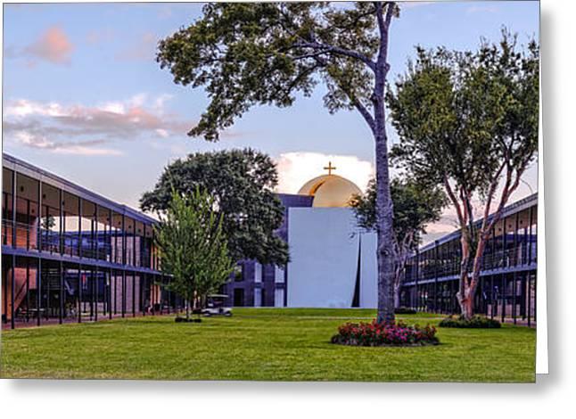Jesus Greeting Cards - Panorama of University St. Thomas Academic Campus - Montrose Houston Texas Greeting Card by Silvio Ligutti