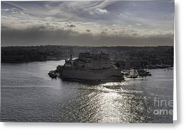 Maltese Greeting Cards - Panorama of Valetta harbour Malta Greeting Card by Frank Bach