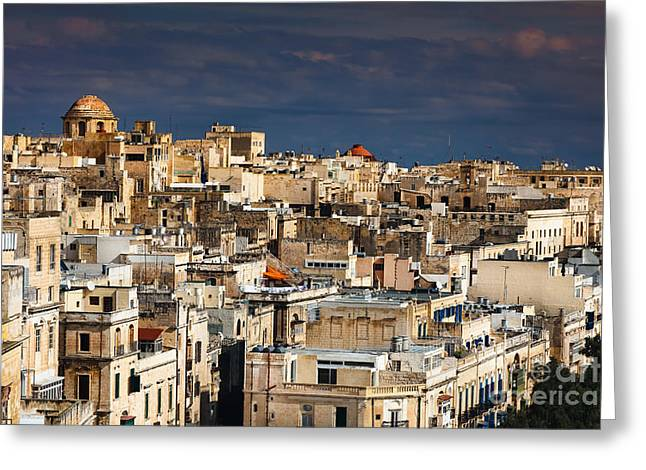 Maltese Greeting Cards - Panorama of Valetta Malta Greeting Card by Frank Bach