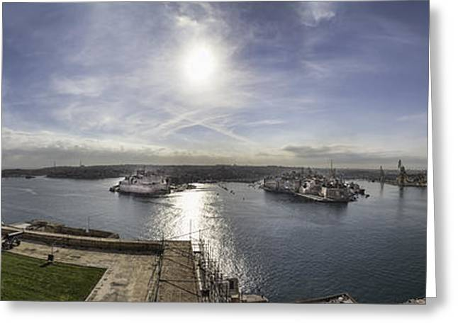 Maltese Greeting Cards - Panorama of Valletta harbour Malta Greeting Card by Frank Bach