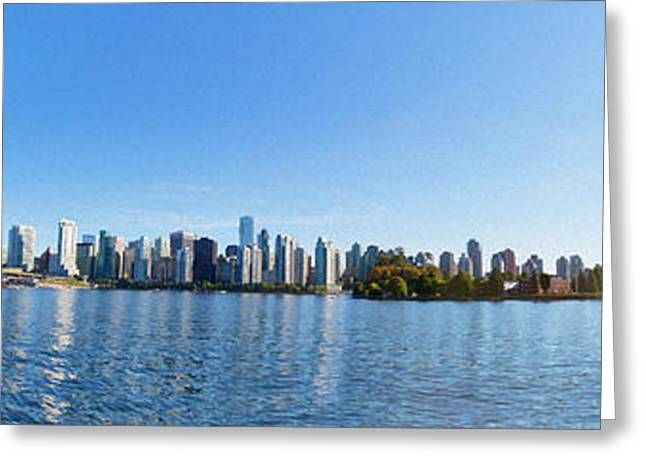 Buildings In The Harbor Digital Greeting Cards - Panorama of Vancouver Harbor Greeting Card by Jodi Jacobson