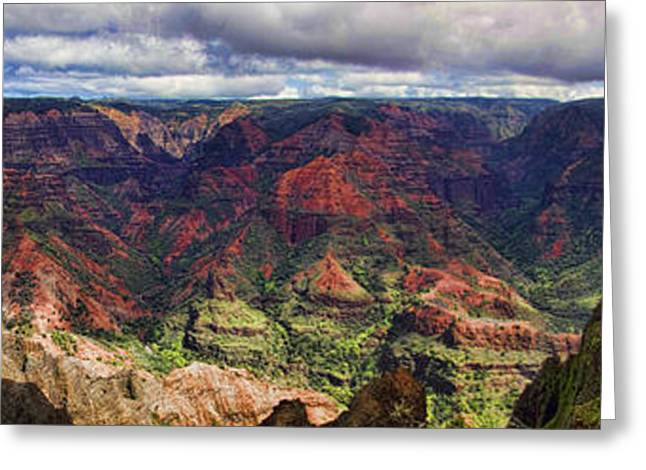 Hawaiin Greeting Cards - Panorama of Waimea Canyon Hawaii Greeting Card by David Smith