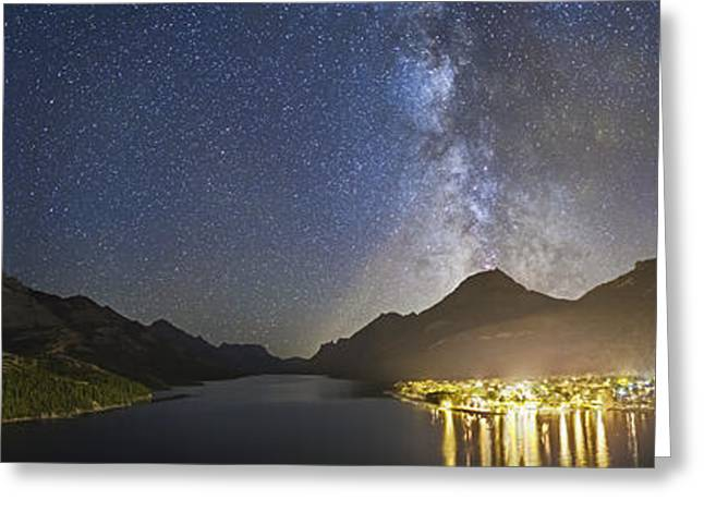 Light Pollution Greeting Cards - Panorama Of Waterton Lakes National Greeting Card by Alan Dyer