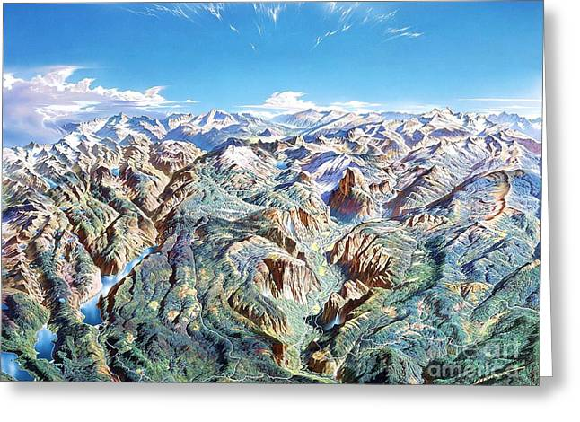 Mountain Valley Drawings Greeting Cards - Panorama of Yosemite Park Greeting Card by Pg Reproductions