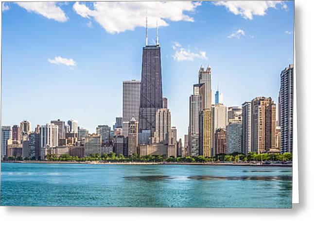 North Side Greeting Cards - Panorama Photo Chicago Skyline Greeting Card by Paul Velgos