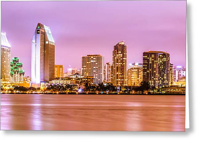 Purple Sea Print Greeting Cards - Panorama Picture of San Diego Skyline at Night Greeting Card by Paul Velgos