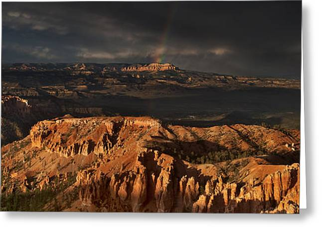 Dave Greeting Cards - Panorama Rainbow And Thunderstorm Over The Paunsaugunt Plateau Bryce Canyon National Park Utah Greeting Card by Dave Welling