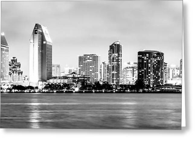 Prints Photo Greeting Cards - Panorama San Diego Skyline Black and White Picture Greeting Card by Paul Velgos