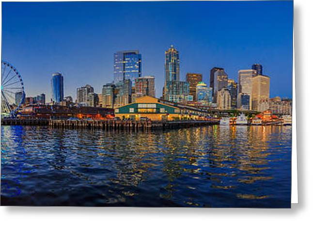 Painterly Greeting Cards - Panorama Seattle Skyline 2 Boats and a Ferris Wheel Greeting Card by Scott Campbell