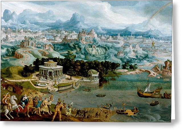 Abduction Greeting Cards - Panorama with the Abduction of Helen Amidst the Wonders of the Ancient World Greeting Card by Maerten van Heemskerck