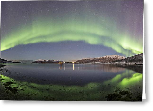 Norway Beach Greeting Cards - Panoramic Aurora  Greeting Card by Frank Olsen