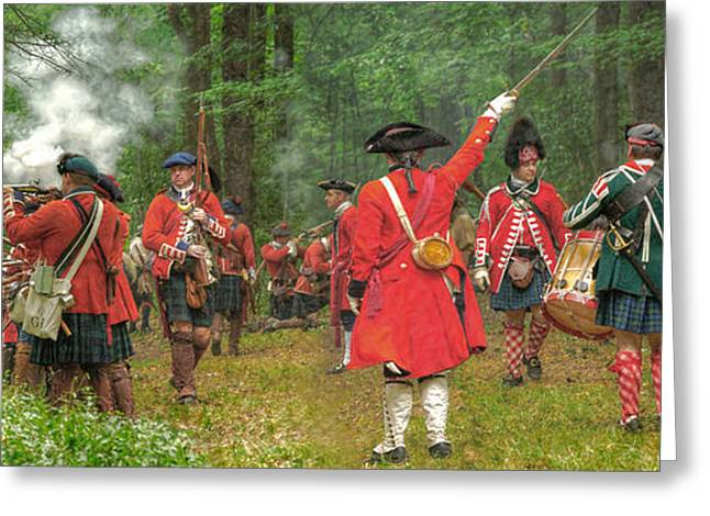 Powder Greeting Cards - Panoramic Battle of Bushy Run Greeting Card by Randy Steele