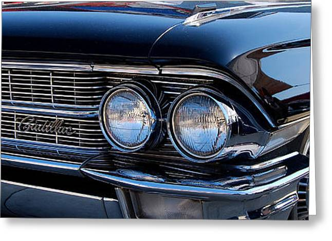 1960 Greeting Cards - panoramic black Caddy Greeting Card by Mark Spearman