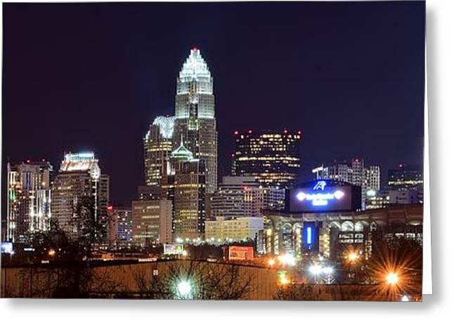 Bobcats Photographs Greeting Cards - Panoramic Charlotte Night Greeting Card by Frozen in Time Fine Art Photography