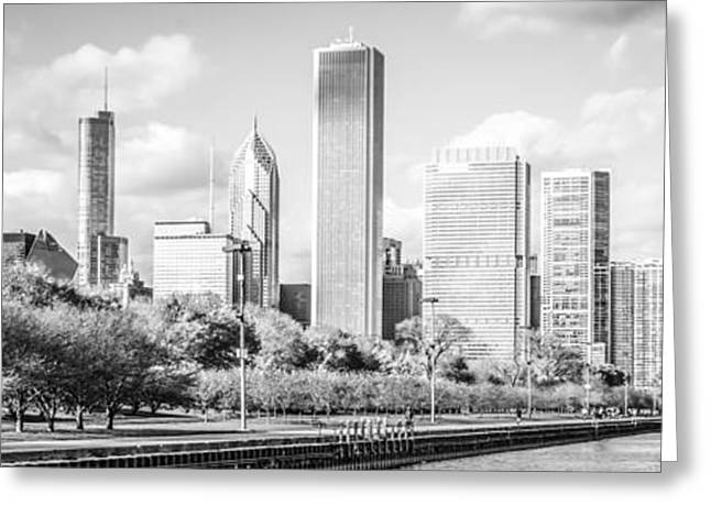 Chicago Building Greeting Cards - Panoramic Chicago Skyline Black and White Photo Greeting Card by Paul Velgos