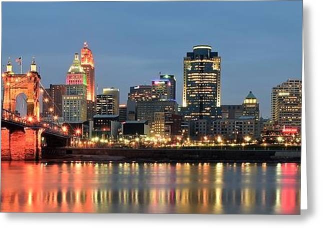 River View Greeting Cards - Panoramic Cincinnati Ohio Greeting Card by Frozen in Time Fine Art Photography