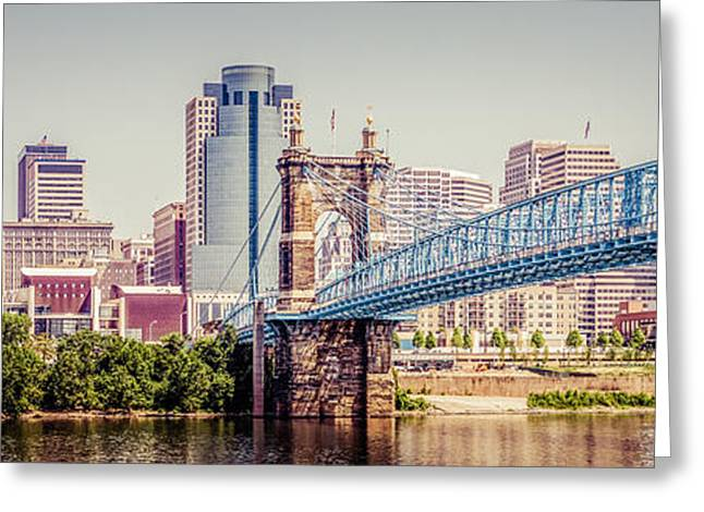 Ohio River Photographs Greeting Cards - Panoramic Cincinnati Skyline Retro Photo Greeting Card by Paul Velgos