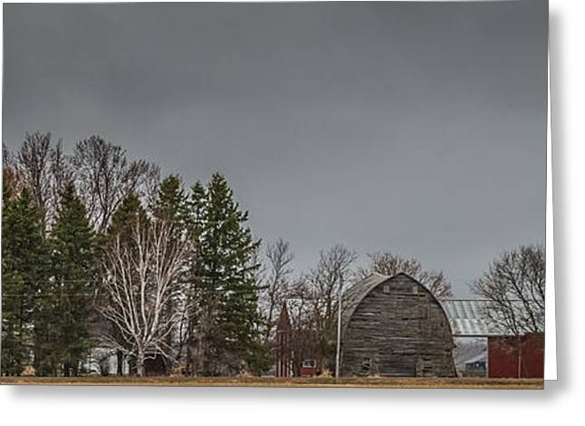 Wooden Building Greeting Cards - Panoramic Farm Scene Greeting Card by Paul Freidlund