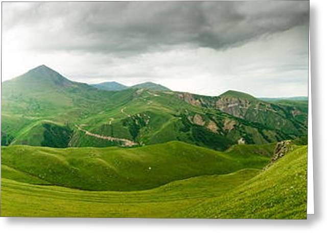 Nature Pyrography Greeting Cards - Panoramic Green Mountains Greeting Card by Boon Mee