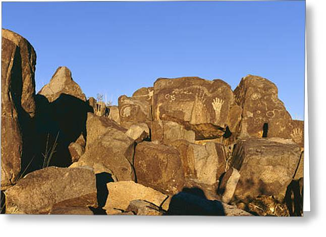 Geometric Image Greeting Cards - Panoramic Image Of Petroglyphs At Three Greeting Card by Panoramic Images