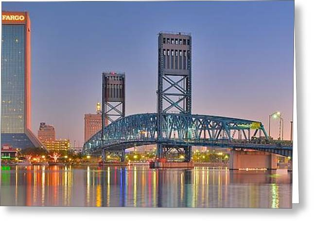 Jacksonville Florida Greeting Cards - Panoramic Jacksonville Greeting Card by Frozen in Time Fine Art Photography