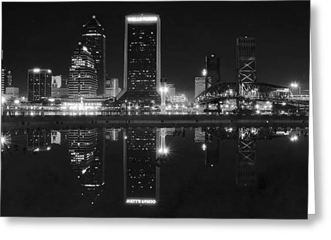 Jacksonville Greeting Cards - Panoramic Jacksonville Night Greeting Card by Frozen in Time Fine Art Photography