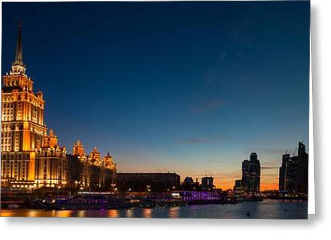 Winter Night Greeting Cards - Panoramic Moscow Skyline With Hotel Ukraine - Featured 3 Greeting Card by Alexander Senin