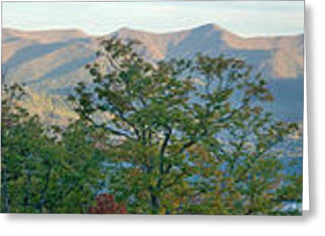 Nature Pyrography Greeting Cards - Panoramic Mountains Greeting Card by Boon Mee