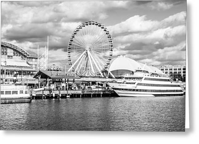 Black And White Photos Greeting Cards - Panoramic Navy Pier Black and White Photo Greeting Card by Paul Velgos
