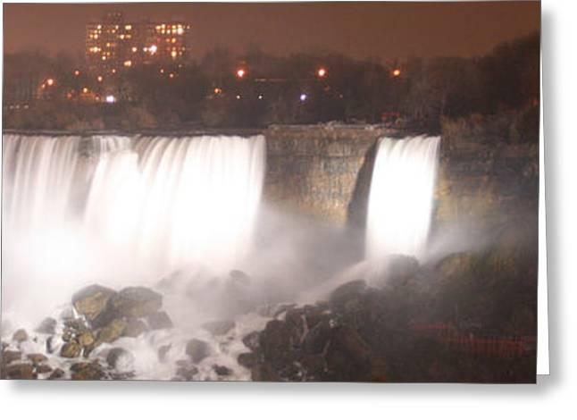 River Flooding Greeting Cards - Panoramic Niagara Falls Greeting Card by Kathy Peltomaa Lewis