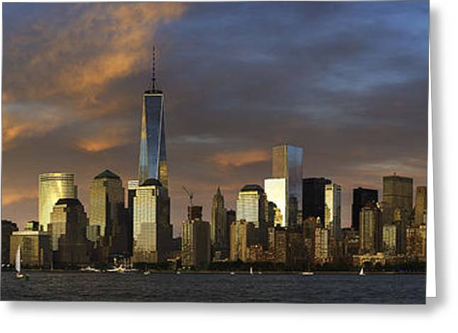 Wtc 11 Greeting Cards - Panoramic NYC Sunset Greeting Card by Randy Lemoine
