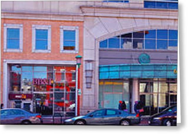 Overhang Greeting Cards - Panoramic of Chinatown Stores Greeting Card by Frank Williams