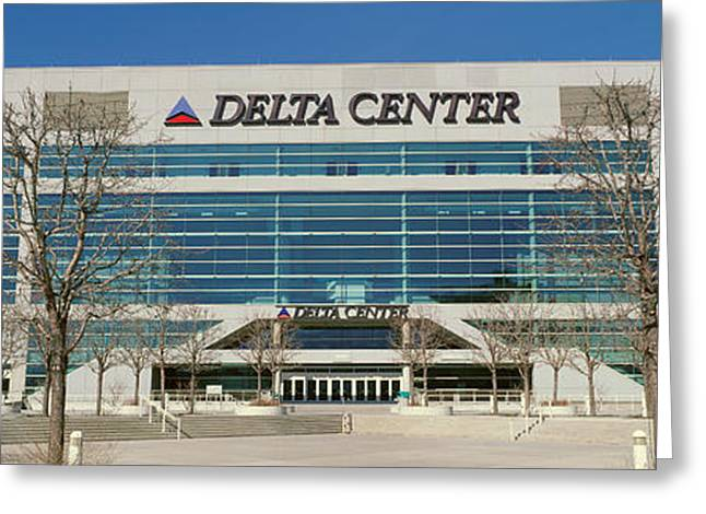 Panoramic Of Delta Center Building Greeting Card by Panoramic Images