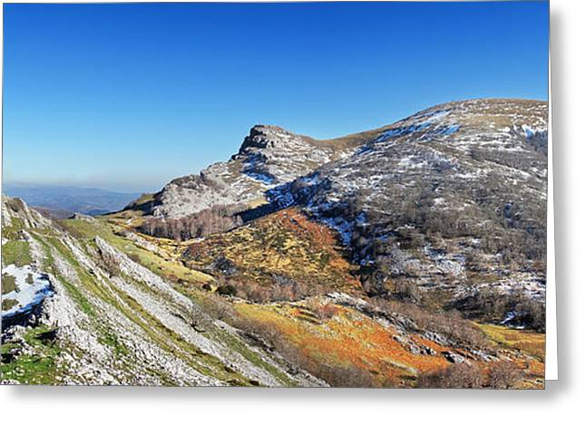 Sunlight Peaking Greeting Cards - Panoramic of Gorbea mountain. Basque Country Greeting Card by Mikel Martinez de Osaba