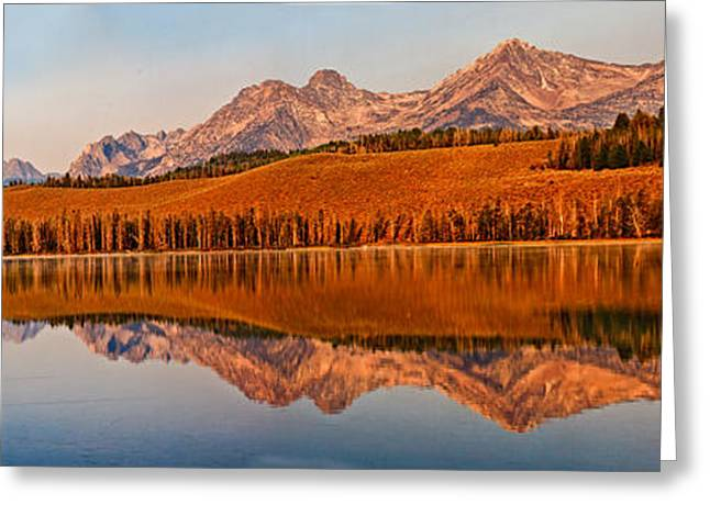 Haybales Greeting Cards - Panoramic Of Little Redfish Lake Greeting Card by Robert Bales