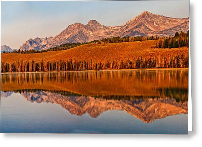 Salmon River Idaho Greeting Cards - Panoramic Of Little Redfish Lake Greeting Card by Robert Bales