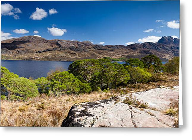 Slioch Greeting Cards - Panoramic of Mount Slioch and Loch Maree Greeting Card by David Head