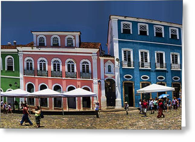 Colonial Building Greeting Cards - Panoramic of Salvador Brazil Street Scene Greeting Card by David Smith