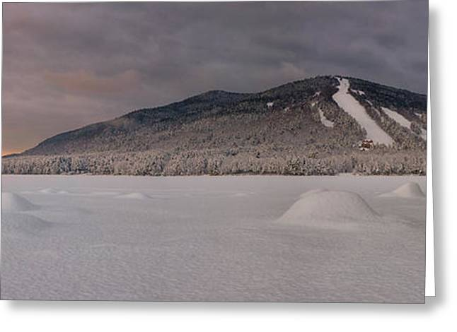 Maine Spring Greeting Cards - Panoramic of Shawnee Peak and Moose Pond Greeting Card by Darylann Leonard Photography